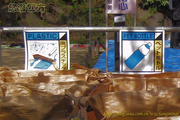 """右面那个垃圾袋,上面画了一个塑料的饮料瓶,英文是""""pet bottle"""",日语"""