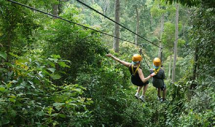 纳蒙瀑布飞跃 泰国苏梅岛丛林飞跃七合一半日 一日游