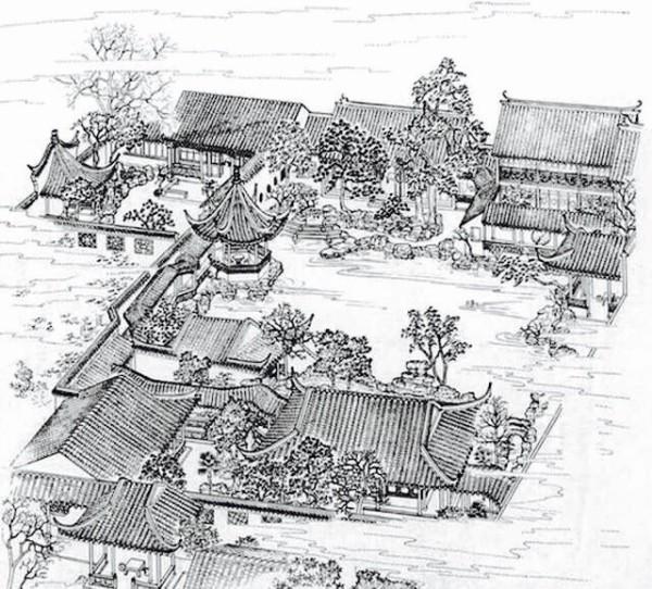 江南园林手绘效果图